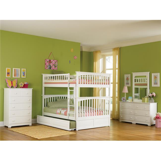 Columbia Bunkbed with Urban Bed Drawers - White, Full Over Full Size