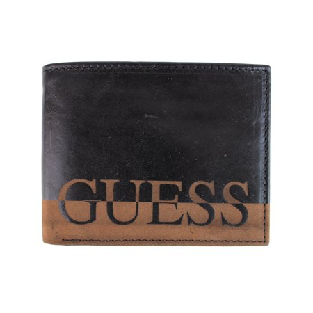Guess Men's Ansel Black Leather Passcase Double Billfold (Passcase Billfold)