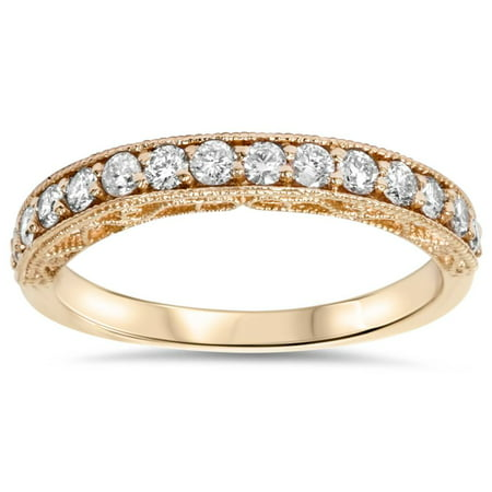 1/3ct Vintage Scroll Design Lab Created Diamond Wedding Ring 14K Rose Gold - image 4 of 4
