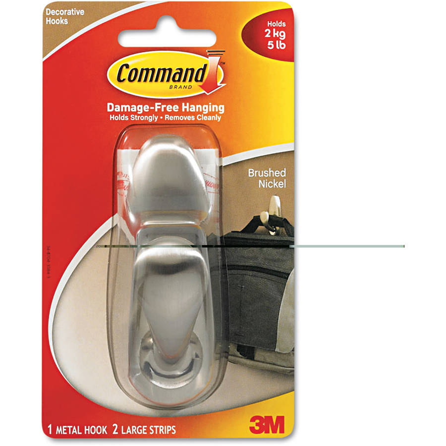 Command Adhesive - Mount Metal Hook, Large, Brushed Nickel Finish