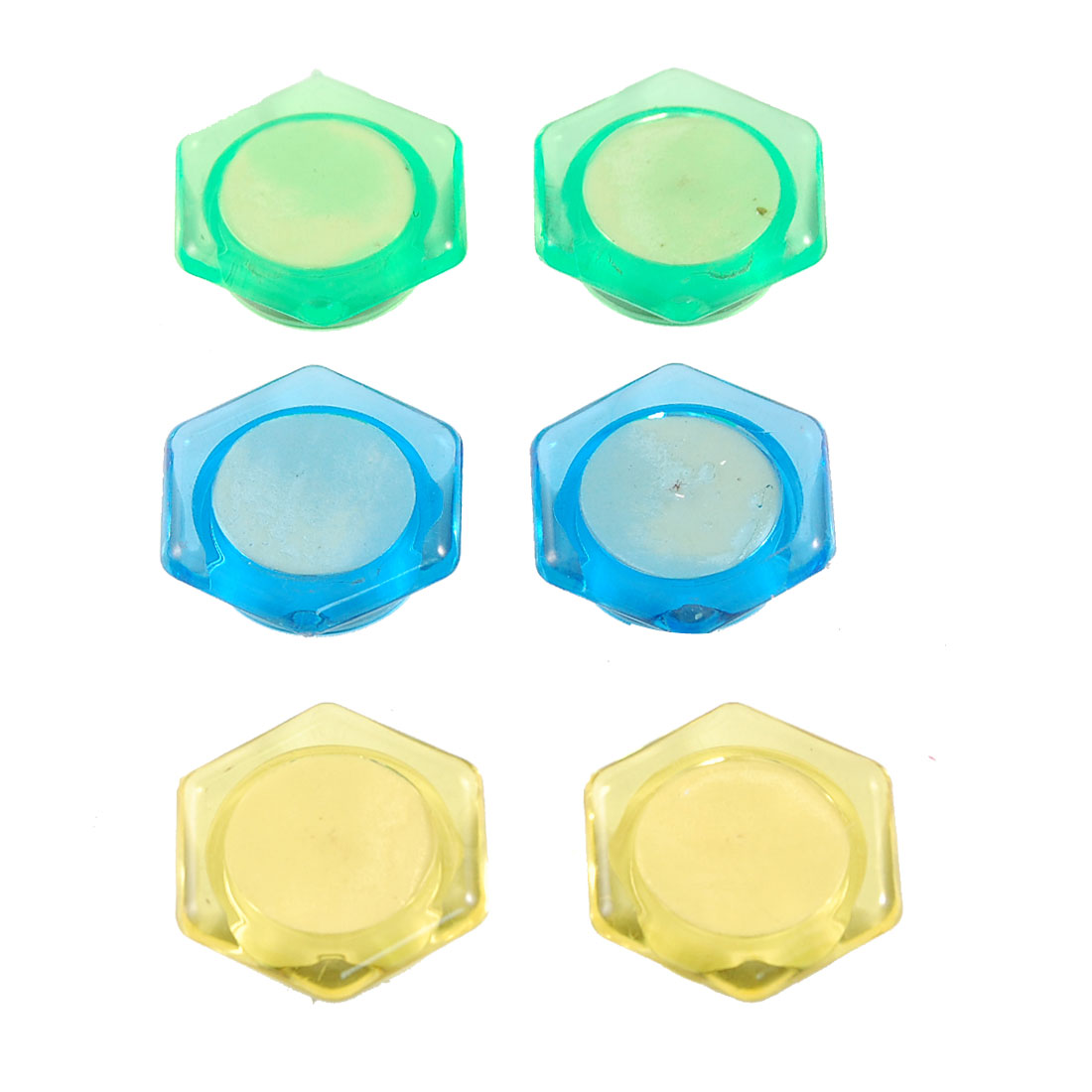 6 Pcs Yellow Green Blue Hex Fridge Refrigerator Magnetic Magnet