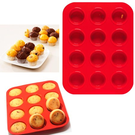 2 Mini Muffin Silicone 12 Cup Cavity Cookie Cupcake Bakeware Pan Soap Tray Mold Mini Muffin Cupcake