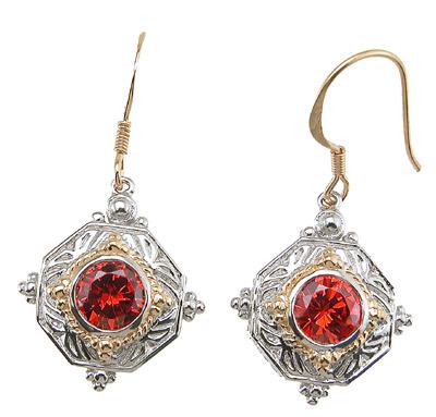Vintage 925 Sterling Silver Earrings with Red Rhinestones.