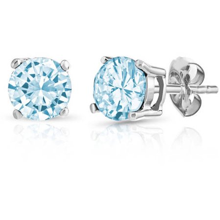 Round Blue Topaz Gemstone Sterling Silver Stud Earrings