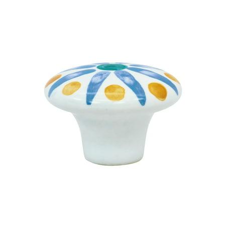 25 Pack Boho Blossom: Blue Flower Cabinet Hardware Knob, 1-15/32 Inch Diameter 1 5/8' Windsor Flower Knob