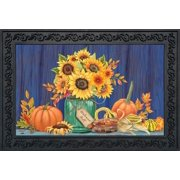 "Fall Mason Jar Floral Doormat Sunflowers Indoor Outdoor 18"" x 30"" Briarwood Lane"