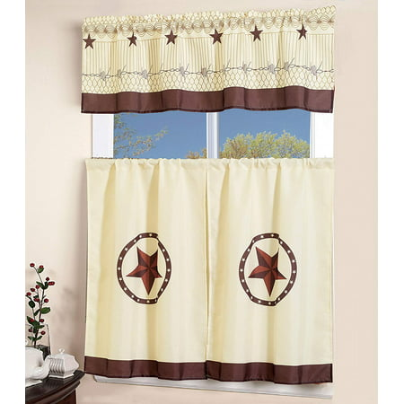 MarCielo 3 Piece Printed Western Texas Star Kitchen/Cafe Curtain With Swag and Tier Window Curtain Set , Beige - Western Star Decor