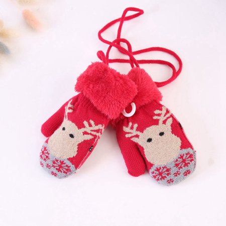 AkoaDa New Christmas Elk Deer Knitted Thicken Warm Gloves Winter Full Finger baby Mittens(Suit For 1-3 Years Old) ()