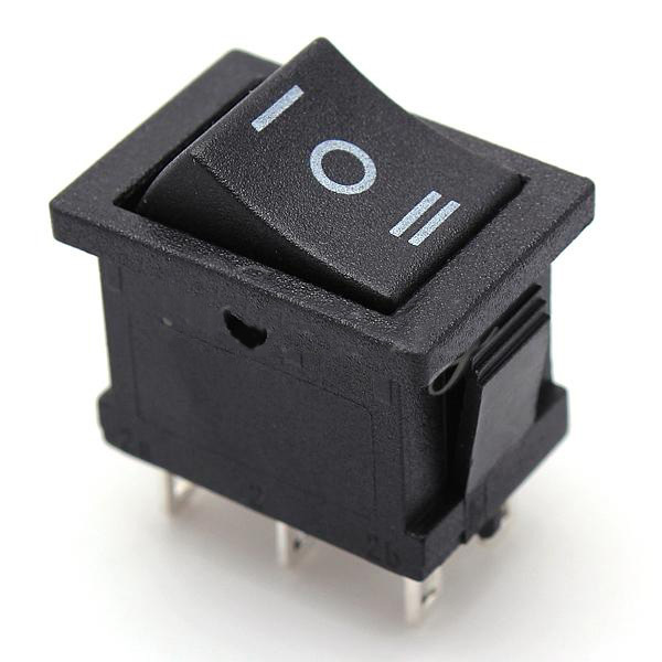 Black 3-Position On-Off-On Car Boat Rocker Switch 6-Pin DPDT 10A 250V Plastic