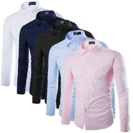 Fashion Mens Luxury Long Sleeve Shirt Casual Slim Fit Stylish Dress Shirts
