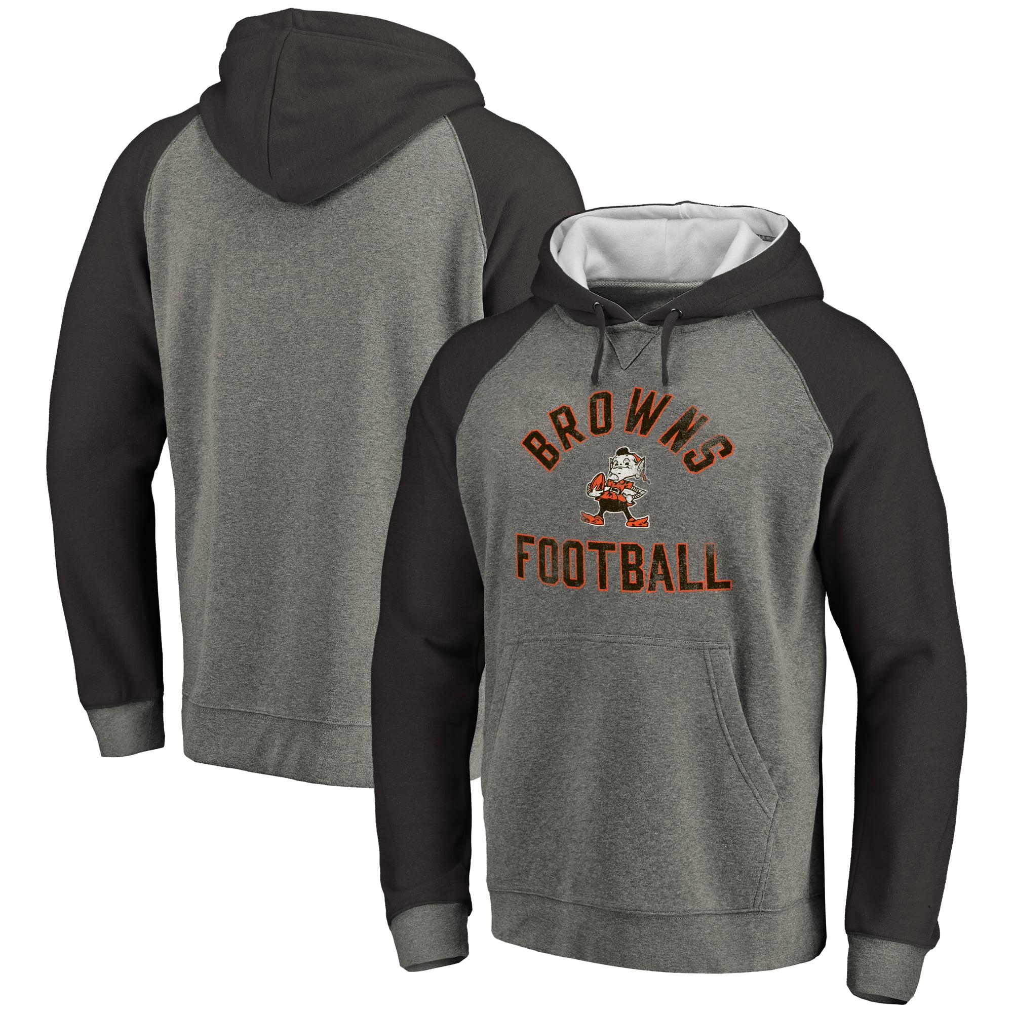 Cleveland Browns NFL Pro Line Comfort Tri-Blend Pullover Hoodie - Gray/Black