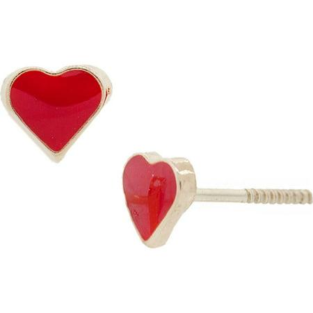 14K Solid Gold Heart Red Enamel Stud Earrings