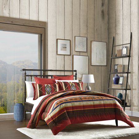 Native American Southwest Red, Turquoise & Brown Reversible Twin Comforter  Set (3 Piece Bedding)