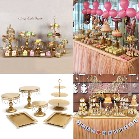 LuckyFine Set of 6 Metal Crystal Cake Holder Cupcake Stand Cake Dessert Holder with Pendants and Beads,Wedding Birthday Dessert Cupcake Pedestal Display](Cookie Display Stand)
