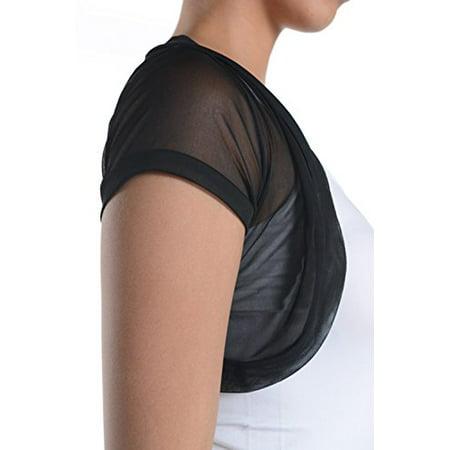 Fashion Secrets Short Sleeves Sheer Chiffon Bolero Shrug Short Cardigan (Large)