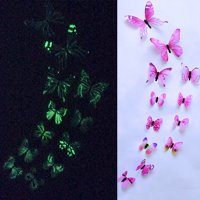 Staron 12pcs Luminous Butterfly Design Decal Art Wall Stickers Room Magnetic Home Decor girls bedroom