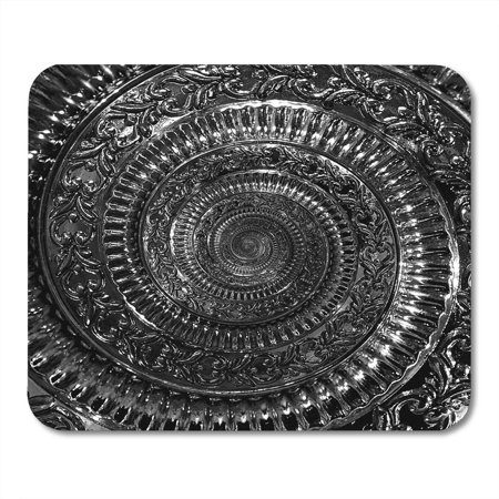 Black Fractal Pattern (SIDONKU Elegant Circle Dark Black Metal Abstract Spiral Pattern Fractal Metallic Twisted Vintage Distorted Mousepad Mouse Pad Mouse Mat 9x10 inch )