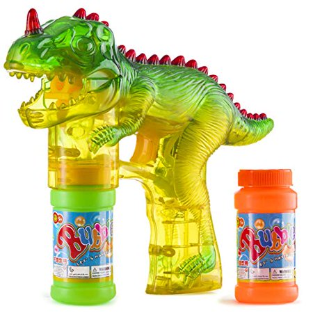 Prextex Dinosaur Bubble Gun Shooter Light Up Bubbles Blower with LED Flashing Lights and Sounds Dinosaur Toys for Kids, Toys Boys and Girls