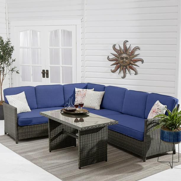 Better Homes Amp Gardens Mayers Bay 5 Piece Sectional Dining Set With Navy Cushions Walmart Com Walmart Com