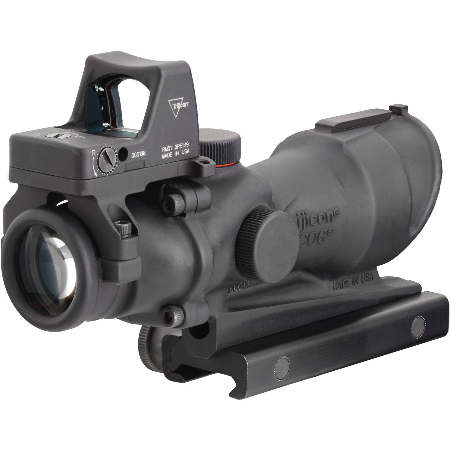 Trijicon ACOG Rifle Scope, 4X32, Amber Crosshair .223 Reticle, Includes 4.0 MOA RMR, TA51 Mount, Dust Cover, Matte by Trijicon