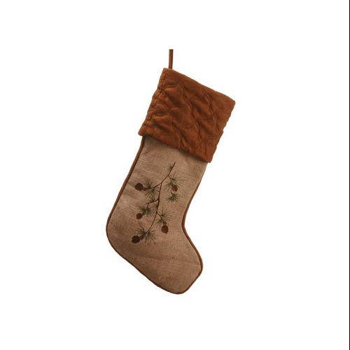 """22"""" In the Birches Tan Embroidered Pine Cone Christmas Stocking"""