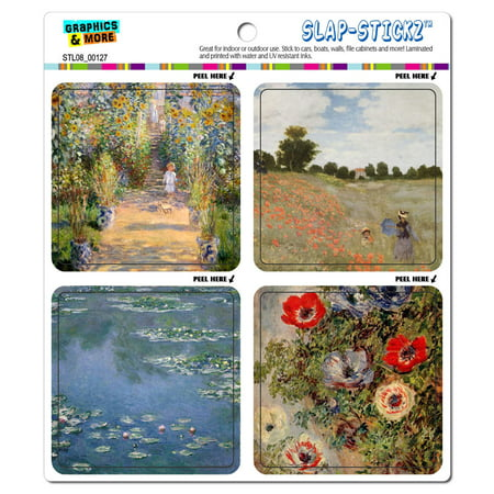 Famous Claude Monet Paintings Impressionism Water Lilies Poppies SLAP-STICKZ(TM) Premium Sticker