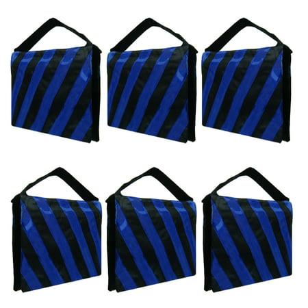 Loadstone Studio 6 Packs of Heavy Duty Photographic Sand Bag Blue Stripe, Video Photo Studio Weight Bag for Light Stand Tripod, Boom Arm Stand, 20 lbs Max Capacity Saddlebag,