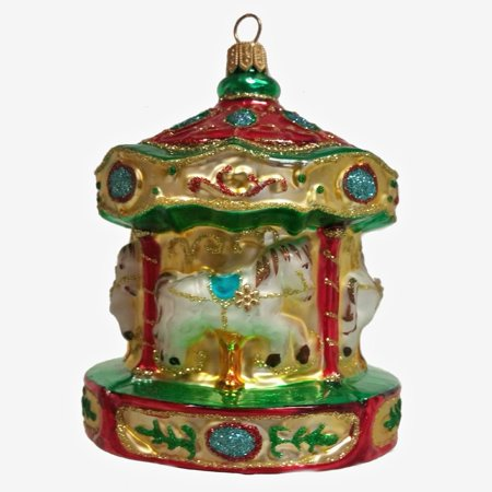 Merry Go Round Carousel Polish Glass Christmas Ornament Holiday Tree Decoration ()