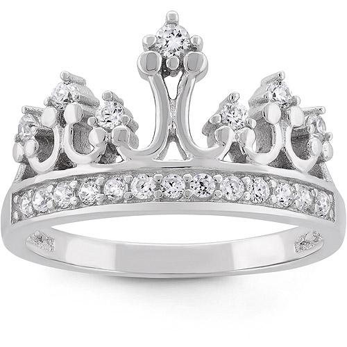 Cubic Zirconia Sterling Silver Crown Ring