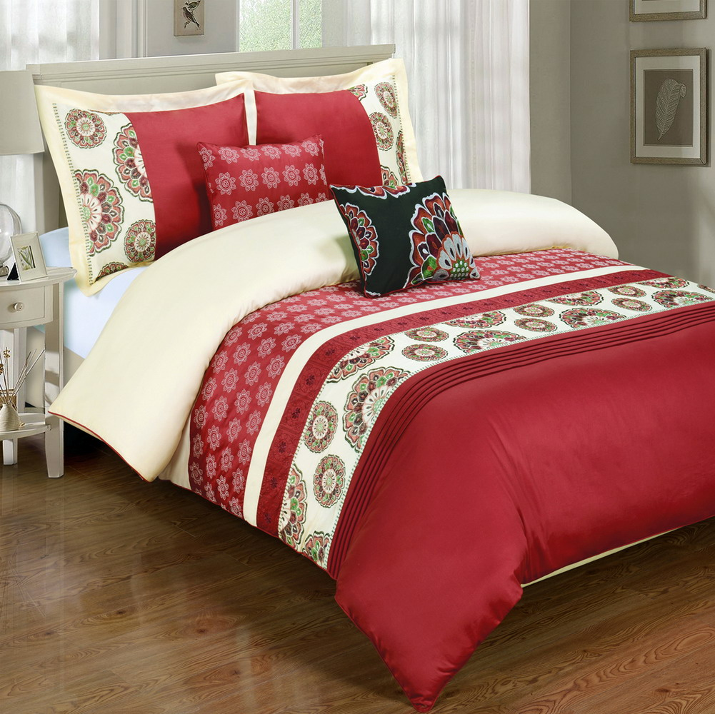 Chelsea Red 5-Piece Duvet Cover Set Embroidered 100% Cotton Full/ Queen Size