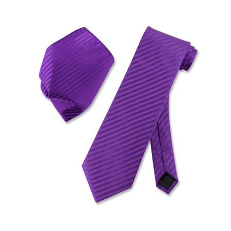 - Vesuvio Napoli PURPLE Striped NeckTie & Handkerchief Matching Men's Neck Tie Set