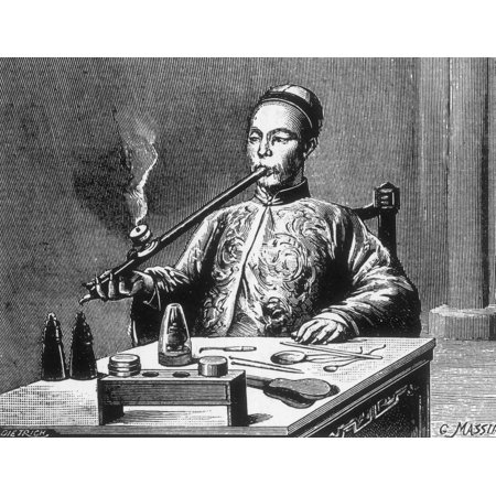Opium Den Man with Opium Pipe 19th Century Stretched Canvas - Science Source (24 x 18)