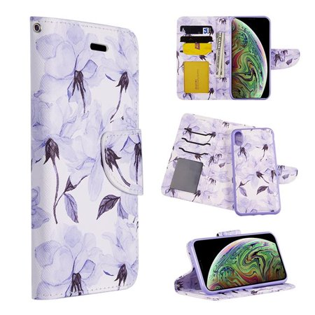Detachable Id Window - Dream Wireless LPFIPXR-TRNDY-GRF The Detachable Trendy Leather Flip Wallet Case with ID Window Card Slots for iPhone XR - Graceful Floral