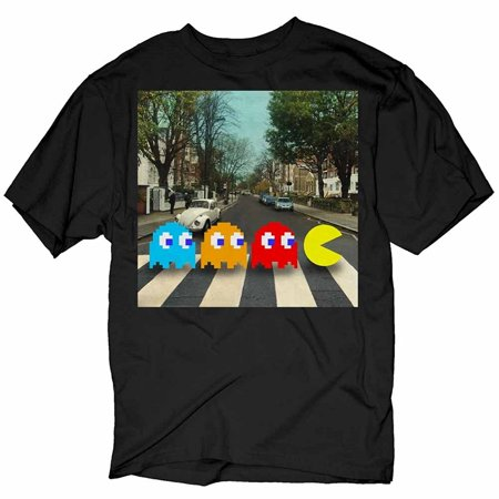Pac-Man Crossing Beatles Abbey Road Black Adult T-Shirt ()