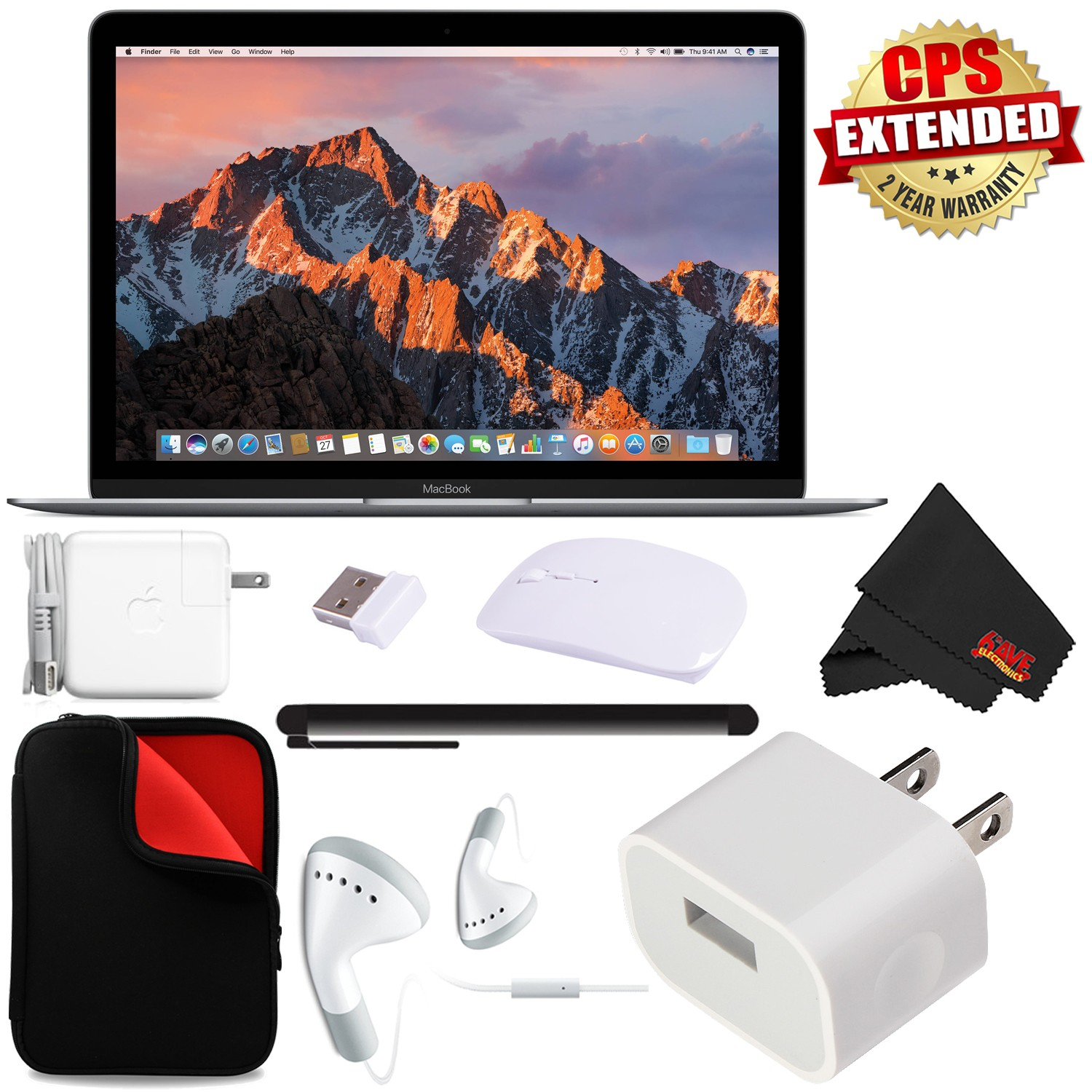 """Apple 12"""" MacBook (Mid 2017 Space Gray) 256GB SSD #MNYF2LL/A + 2.4 GHz Slim Optical Wireless Bluetooth + Padded Case For Macbook Bundle"""