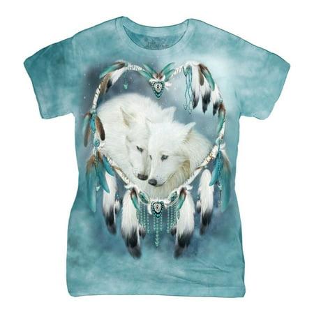 The Mountain Blue Cotton Wolf Heart Design Novelty Parody Womens T Shirt New