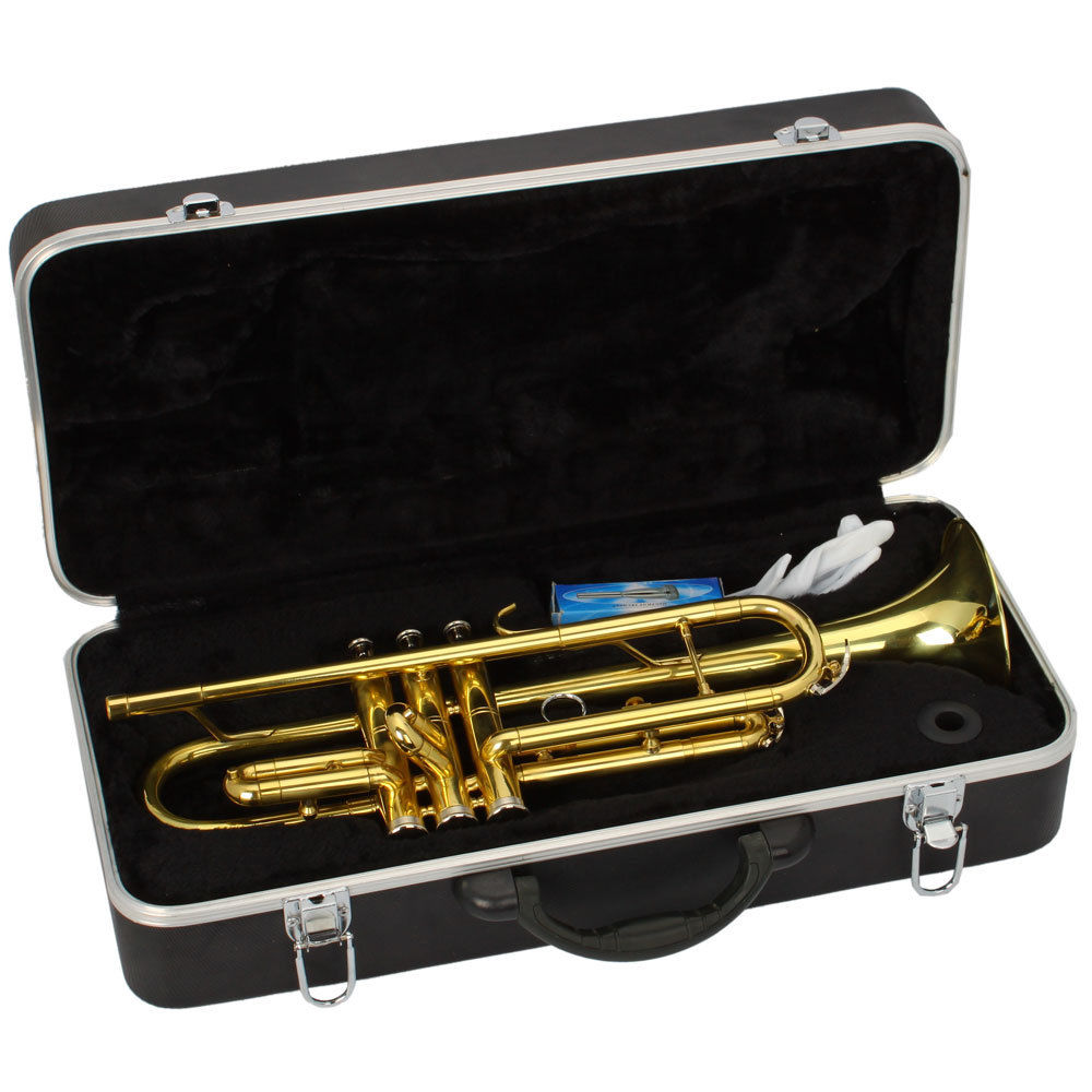 Ktaxon Beginner Gold Lacquer Brass Bb Trumpet w/Care Kit+Case for Student School Band