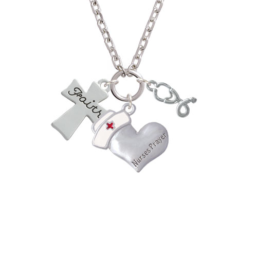 Faith Flat Cross Nurse's Prayer Heart and Stethoscope Zoe Necklace