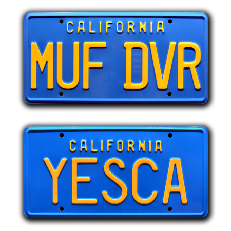 Cheech & Chong's Up in Smoke | MUF DVR + YESCA | Metal Stamped Replica Prop License Plate