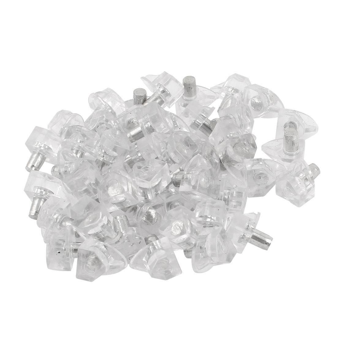 Clear Plastic Glass Studs Metal Shelf Support Peg Pin 5mm Dia 50 Pcs