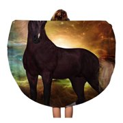 NUDECOR 60 inch Round Beach Towel Blanket Liver Chestnut Unicorn 3D is Creature of Myth Travel Circle Circular Towels Mat Tapestry Beach Throw