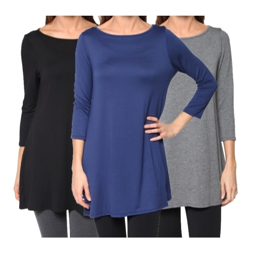 Image of 3 Pack: Women's FTL Loose Fit Long Elbow Sleeve Jersey Tunics