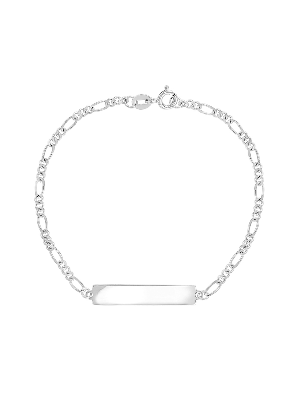 925 Sterling Silver Childrens ID Figaro Bracelet Childs Identity