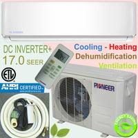 PIONEER Ductless Mini Split Inverter Heat Pump System. 9,000 BTU/h, 208-230V, 17.0 SEER