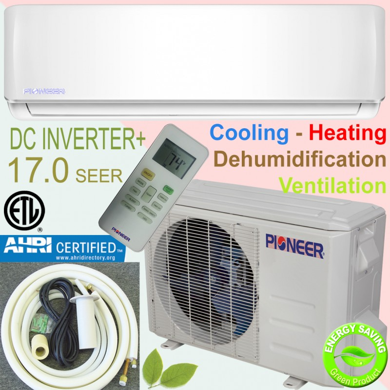 PIONEER Ductless Mini Split Inverter Heat Pump System. 9,000 BTU/h, 110-120V, 17.0 SEER