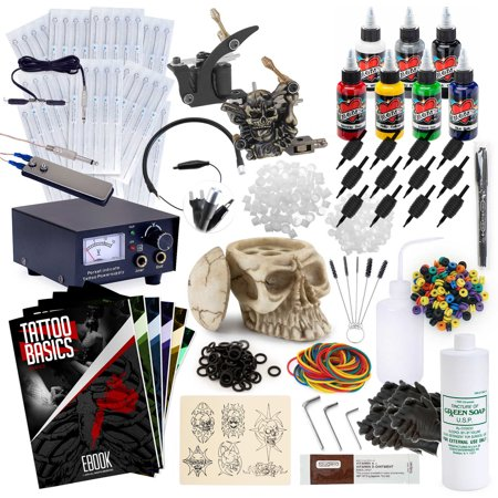 Rehab Ink Complete Tattoo Set w/ 2 Machines, Power Supply, 7 Millennium Mom's Ink Colors, Skull Ink Holder & More - High Quality Tattoo Machines