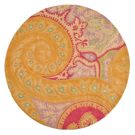 Abstract Paisley Tie (Hand-tufted Wool Orange Contemporary Abstract Paisley Rug)