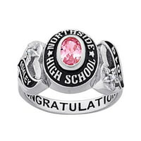 Personalized Women's Celebrium Sweetheart Class Ring with CZ Accents