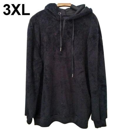 Sherpa Pullover Hoodie Plus Size, Women's Oversized Fuzzy Fleece Pullover Hoodie Tops with Pockets 1/4 Zip Sweatshirt , Black Back Zip Sweatshirt