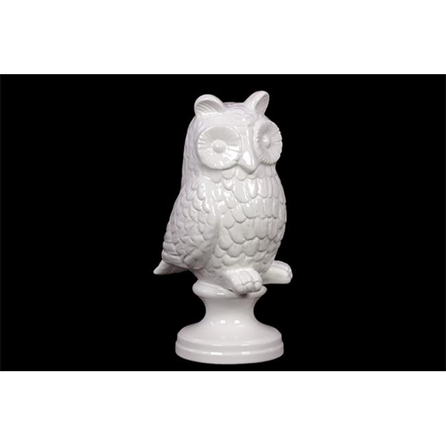 Urban Trend 73022 10.71 in. H Ceramic Owl on Stand White